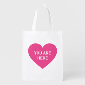 You are here pink heart reusable grocery bag
