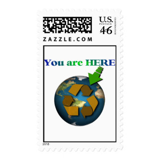 You are Here Planet Earth Recycle Postage Go Green