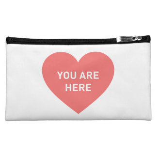 You are here red heart cosmetic bag