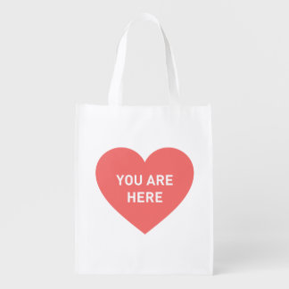 You are here red heart reusable grocery bag