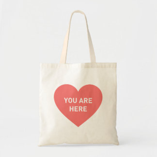 You are here red heart tote bag