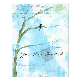 You Are Invited Bird in Tree Abstract Collage Card