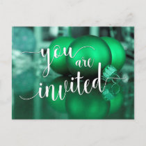 You Are Invited Christmas Party, Green Glass Balls Invitation Postcard