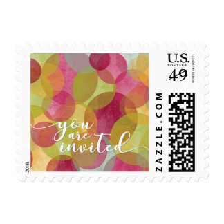 """You are Invited"" Colorful Bubbles-Circles Event Postage"