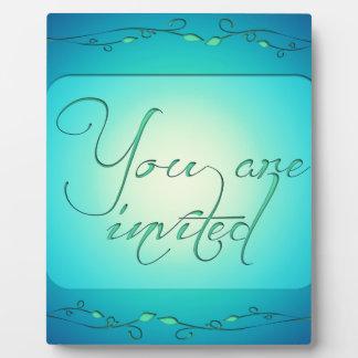 YOU ARE INVITED INVITATIONS BLUE GREEN PLAQUE