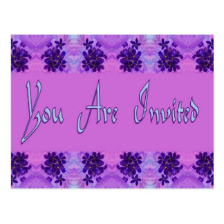 You Are Invited purple flowers Postcard