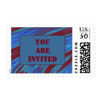 You Are Invited  Red  Blue Swish Postage