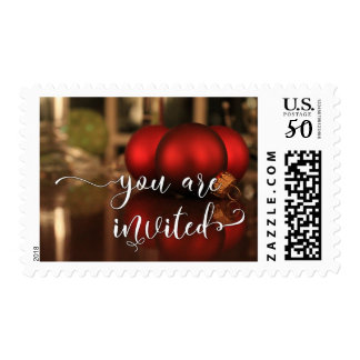 You Are Invited, Red Christmas Glass Balls Photo Postage