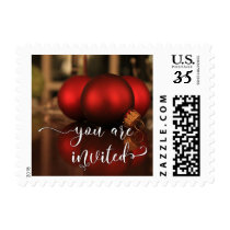You Are Invited, Red Glass Christmas Balls Photo Postage