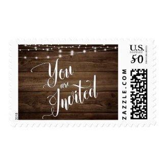 You Are Invited, Rustic Wood, Lights & Script 3 Postage