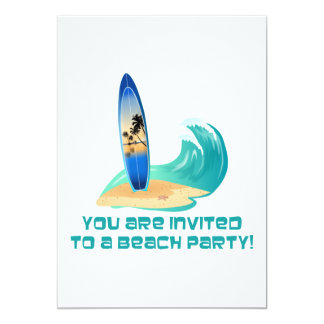 You Are Invited To A Beach Party! (Surfboard Sand) Card