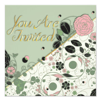 You Are Invited - Vintage Flower w/ Texture Card