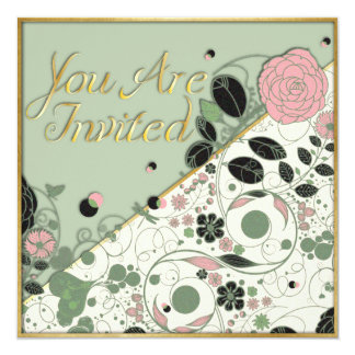 You Are Invited - Vintage Flower w/ Texture & Gold Card