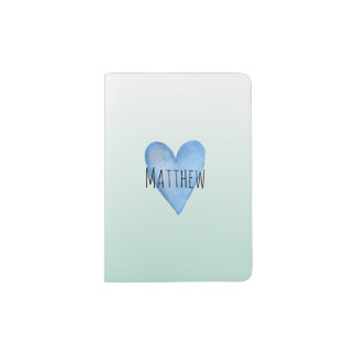 You Are Loved Customizable Blue Heart Baby Boy's Passport Holder