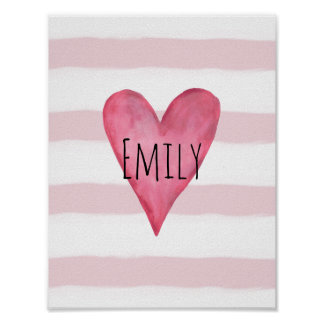 You are Loved Customizable Pink Heart Baby Girl's Poster