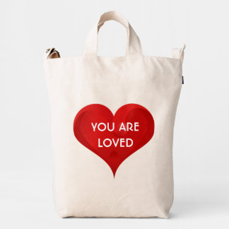 You are loved, Inspirational Heart Quote BAGGU Bag