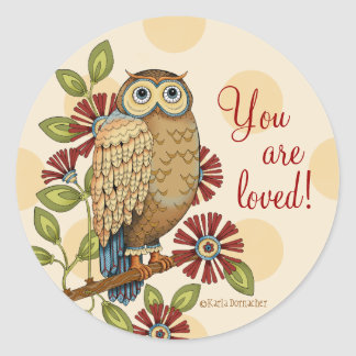 You Are Loved Owl Round Stickers