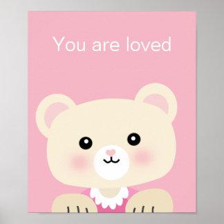 You are Loved Pink Little Bear Nursery Wall Art