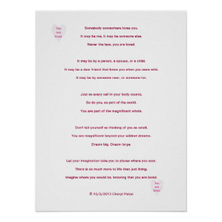 You are loved, poem by Cheryl Paton, poster