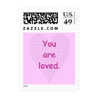 You are loved, pointillism heart postage stamps
