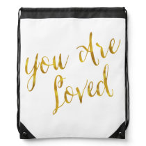 You Are Loved Quote Faux Gold Foil Metallic Design Drawstring Bag