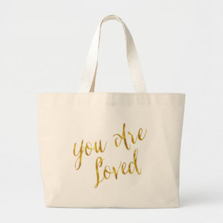 You Are Loved Quote Faux Gold Foil Metallic Design Large Tote Bag