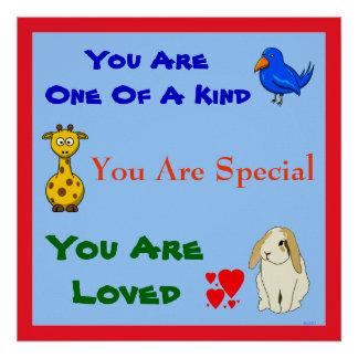 You are Loved Special Rabbit Bird Giraffe Kids Poster