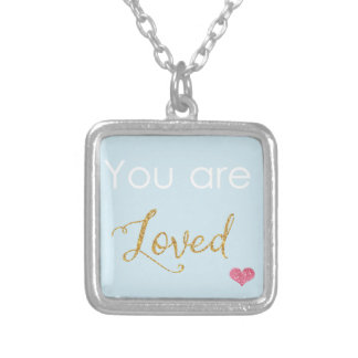You are Loved Square Pendant Necklace