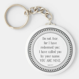 You are mine, black-and-white scripture keychain