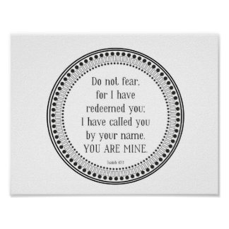 You are mine, black-and-white scripture poster