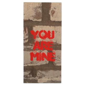 You Are Mine, USB flash drive, graffiti wall Wood USB Flash Drive