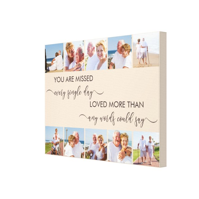 You are Missed 10 Photo Collage Almond Remembrance Canvas Print
