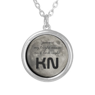 You Are My Bright Silver Moon on a Dark Night Round Pendant Necklace