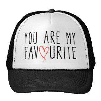 You are my favourite, text design with red heart trucker hat