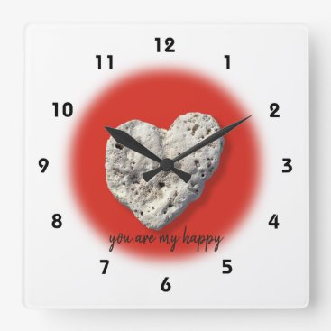 "Hawaiian Themed ""You Are My Happy"" Quote Hawaii Coral Heart Photo Square Wall Clock"
