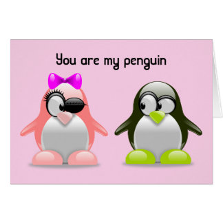 You are my penguin Pink Background Card