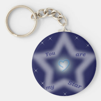 """""""You are my star"""" Basic Round Button Keychain"""