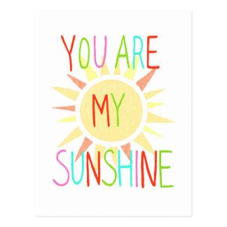 You Are My Sun Shine Postcard Happy Colorful Sunny