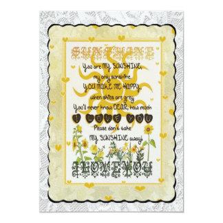 You are my sunshine. 5x7 paper invitation card