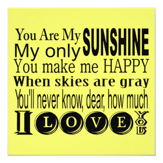 You Are My Sunshine Apparel and Gifts 5.25x5.25 Square Paper Invitation Card