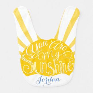 you are my sunshine baby bib sun yellow