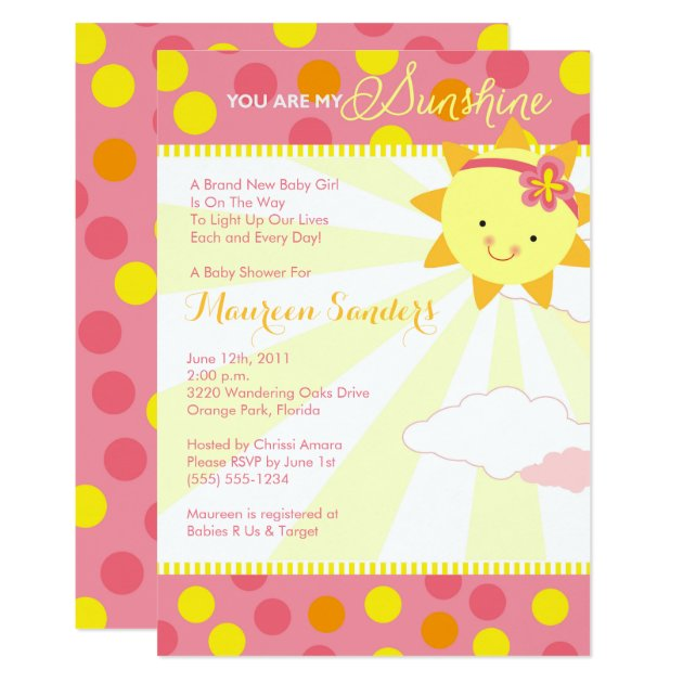You Are My Sunshine Baby Shower Invitations Girl Zazzle