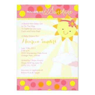 You Are My Sunshine Baby Shower Invitations - Girl
