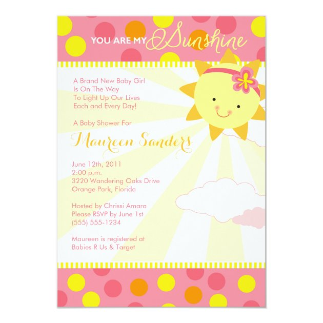 You Are My Sunshine Baby Shower Invitations   Girl | Zazzle.com