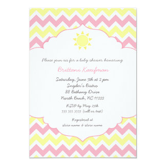 "You are my sunshine baby shower invite pink 5"" x 7"" invitation card"