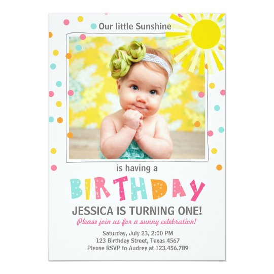 You Are My Sunshine Birthday Invitation Girl Zazzle Com
