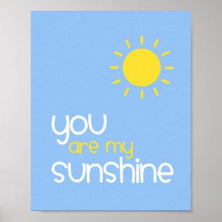 You Are My Sunshine Blue Nursery Art Decor Posters