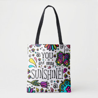 You are my Sunshine Bold Colorful Butterfly Art Tote Bag