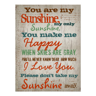 You are my Sunshine Children's Song Poster