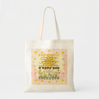 You are my sunshine heart design budget tote bag